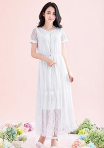 甜美花嫁蕾絲長洋裝