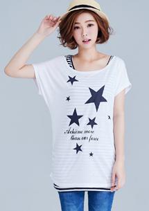 兩件式星星側抓皺上衣