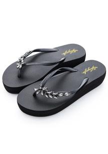 璀璨鑽飾厚底夾腳拖鞋