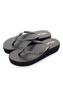 蝴蝶結鑽飾厚底夾腳拖鞋
