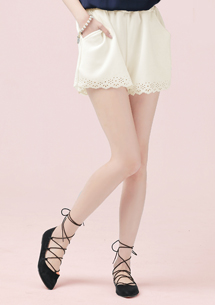 質感壓紋雕花褲裙