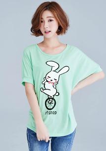輕柔舒適單車兔寬版上衣