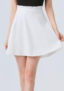 優雅意境荷葉腰頭蕾絲短裙