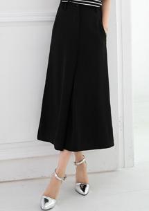時尚造型鬆緊寬褲