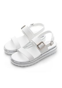 銀邊配色厚底涼鞋
