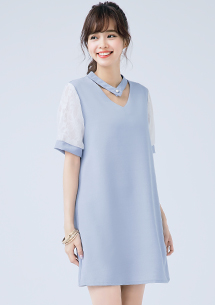 復古珍珠釦洋裝-附綁帶