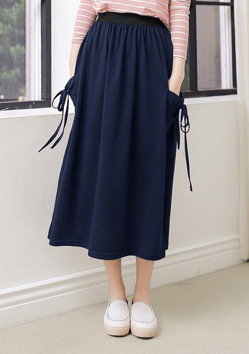 綁繩口袋休閒棉裙