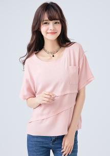 韓版設計棉麻剪接上衣