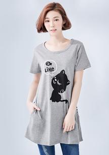 貓咪愛魚條紋口袋上衣