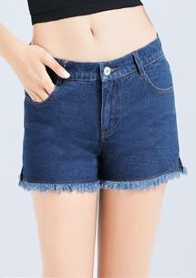 顯瘦開衩抽鬚牛仔短褲