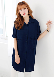 韓風雙口袋長版襯衫