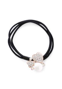 愛心亮鑽珍珠髮圈