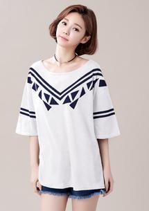 韓風幾何寬袖上衣