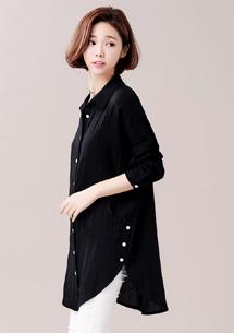 造型側釦長版襯衫