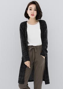 時髦開襟長版針織外套