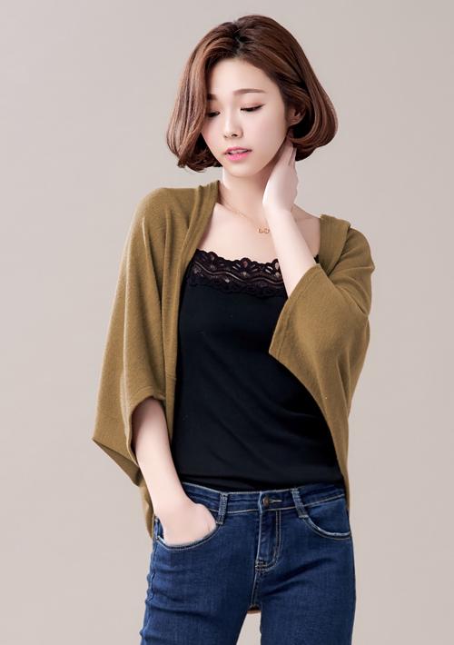 純色品味磨毛針織罩衫