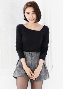 微涼季節韓式斜領上衣