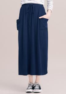 俏皮大口袋純色長裙