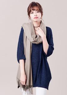 純色柔感混羊絨圍巾