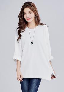 韓版慵懶壓紋寬袖上衣