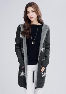星星綻放開襟針織外套