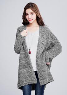 暖感編織開襟外套