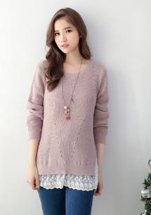 純色浪漫蕾絲針織毛衣