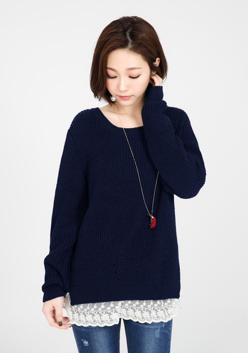 浪漫蕾絲針織毛衣