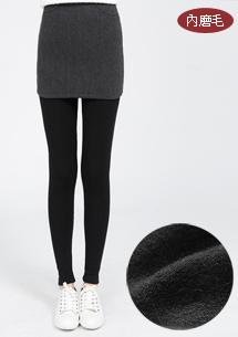 【限時$259】假兩件配色磨毛內搭褲