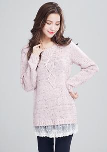 恬靜蕾絲拼接針織毛衣