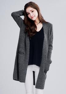暖感混紡毛料長版外套