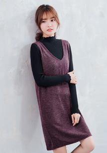 自信簡單V領針織背心裙