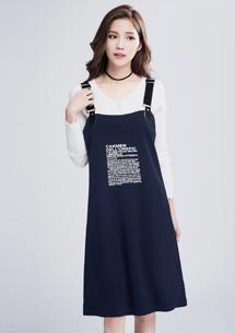 甜美率性字母吊帶裙