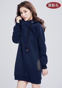 微醺暖感厚刷毛連帽洋裝