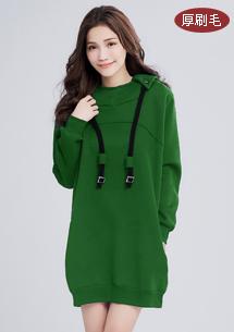 【限三天$299】微醺暖感厚刷毛連帽洋裝