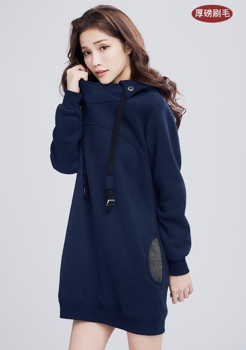 暖感厚磅刷毛連帽洋裝