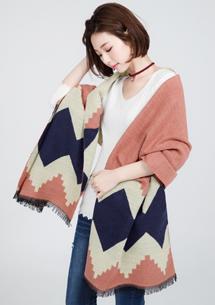 菱格拼接保暖圍巾