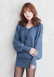 韓版輕熟V領針織洋裝