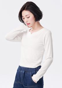 韓系舒柔極彈小V領上衣