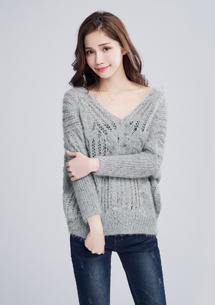 高雅鏤空針織短版毛衣