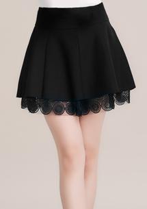 純色質感蕾絲褲裙