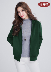 休閒純色厚磅棉刷毛外套