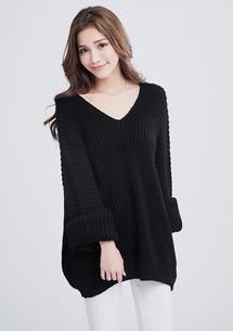 嚴選暖感坑條寬袖毛衣