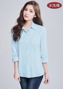簡約純色水洗棉襯衫