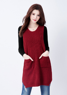 韓風個性長版針織背心