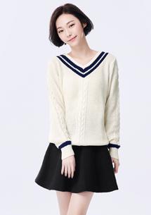 V領學院風針織毛衣