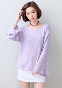 炫彩韓版寬袖針織上衣