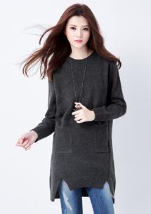 韓品雙口袋長版針織衫