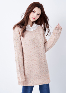 清雅甜美混色針織毛衣