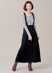 假兩件質感條紋洋裝